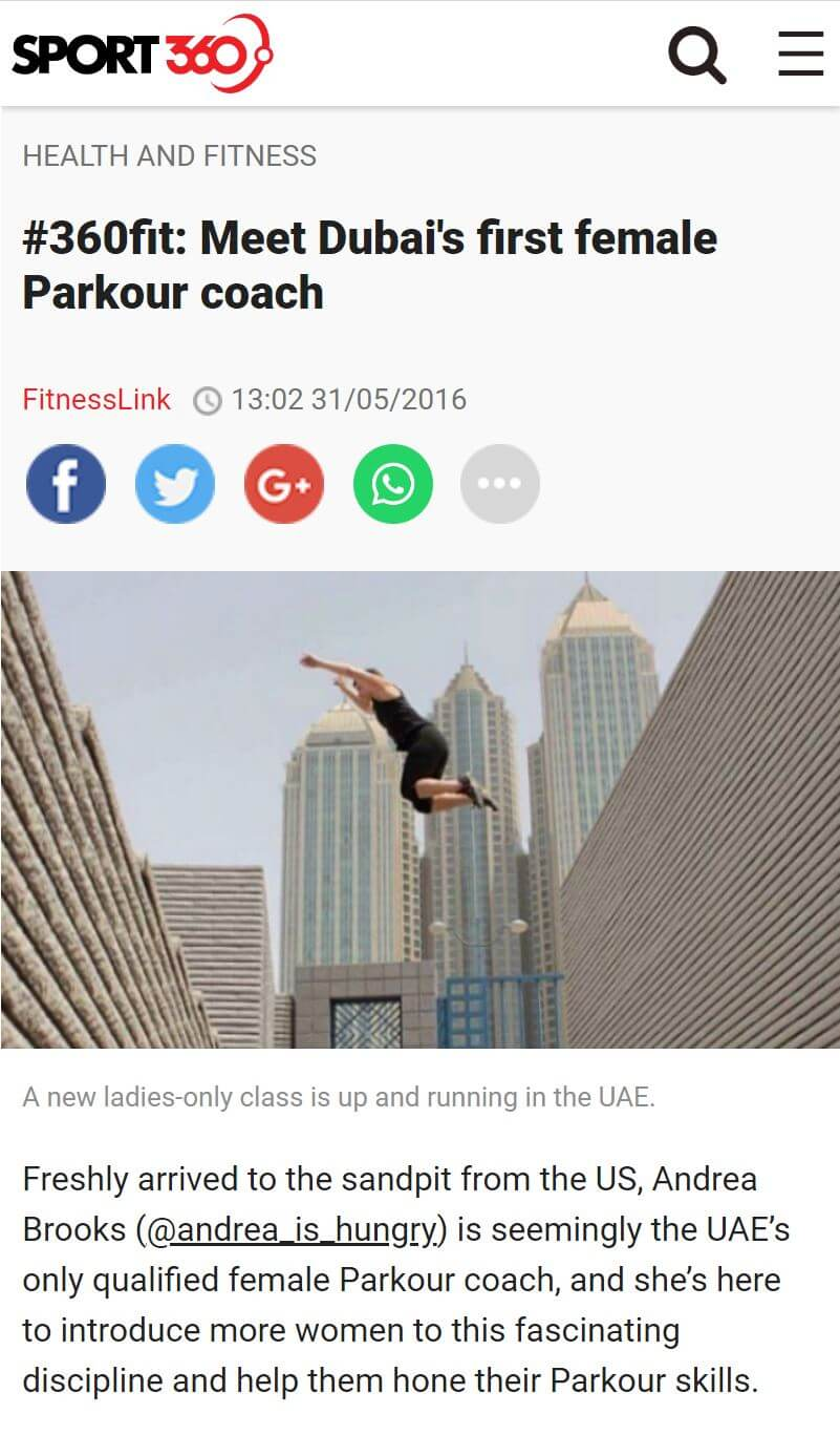 Andrea talks to Sport 360 about women in Parkour in Dubai