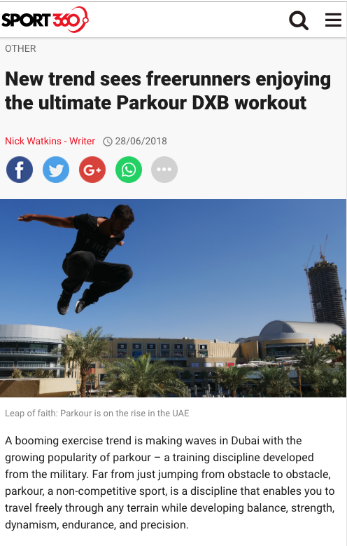 SPORT360 (UAE): New trend sees freerunners enjoying the ultimate Parkour DXB workout 1 Parkour Dubai Abu Dhabi