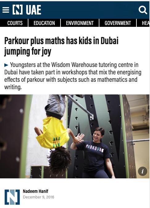 The National (UAE): Parkour plus maths has kids in Dubai jumping for joy 1 Parkour Dubai Abu Dhabi